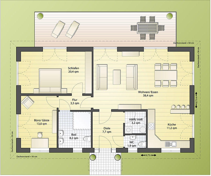 Grundriss bungalow 5 zimmer 3d  Bungalow B105: 147.980 € | IBS-Haus