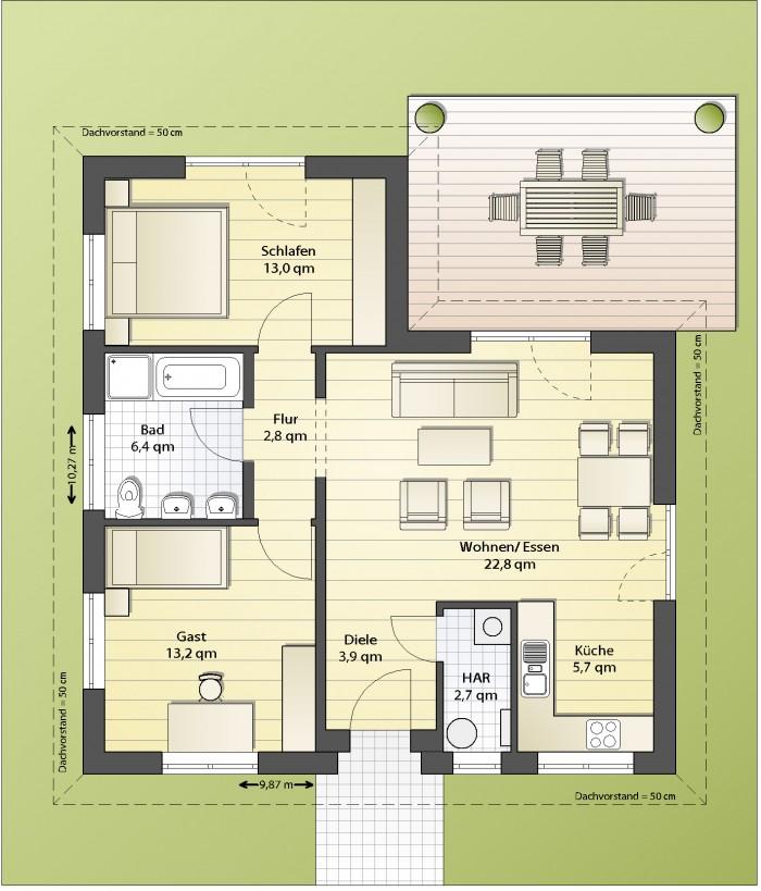 Bungalow Grundriss 3 Schlafzimmer ~ Kreatives Haus Design